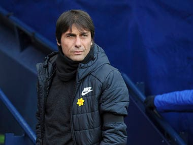 Chelsea manager Antonio Conte wearing black armband in memory of Fiorentina captain Davide Astori has died in his sleep on Sunday morning, prior to the start of the English Premier League soccer match between Manchester City and Chelsea at the Etihad Stadium in Manchester, England, Sunday, March 4, 2018. (AP Photo/Rui Vieira)