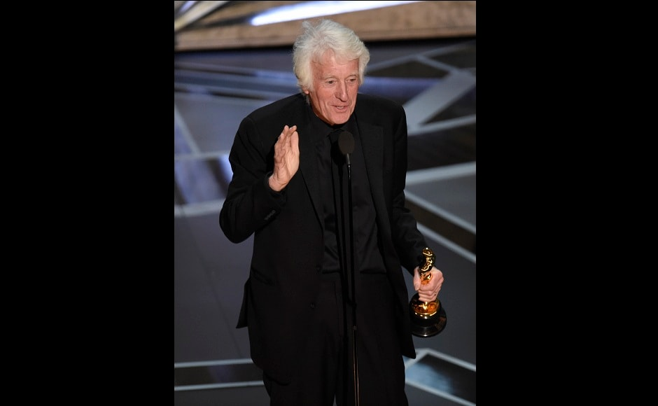 Roger Deakins accepts the award for best cinematography for Blade Runner 2049 at the Oscars. AP/Chris Pizzello