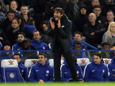 Chelsea head coach Antonio Conte shouts during the English Premier League soccer match between Chelsea and Crystal Palace at Stamford Bridge stadium in London, Saturday, March 10, 2018. (AP Photo/Matt Dunham)