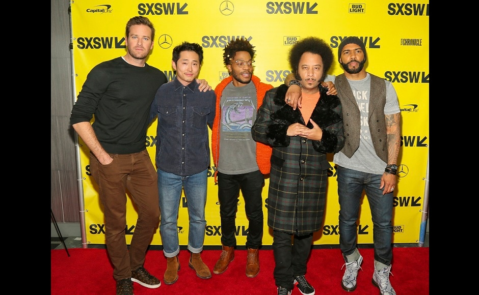 Armie Hammer, Steven Yeun, Jermaine Fowler, Boots Riley and Omari Hardwick, from left, arrive for a screening of Sorry To Bother You during the South by Southwest Film Festival. AP/Jack Plunkett