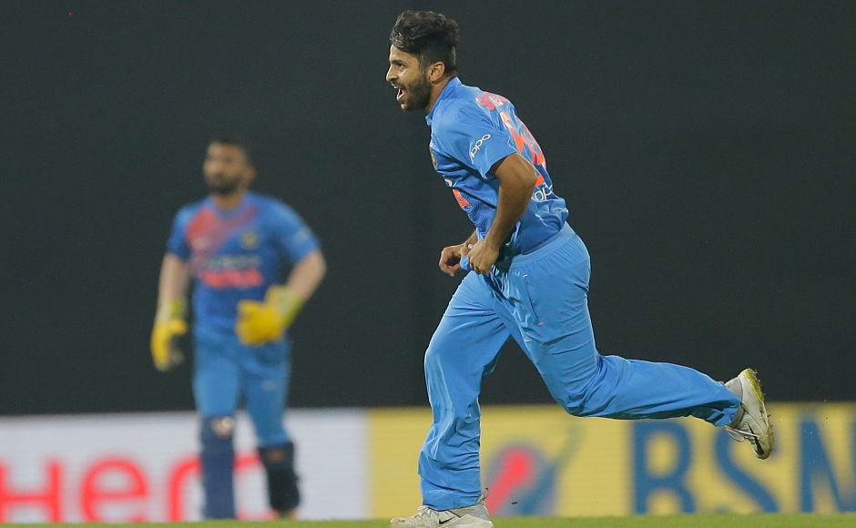 Shardul Thakur had a memorable outing scalping career best figures of four for 27 in his quota of four overs helping the India restrict Sri Lanka for 152. AP
