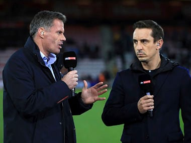 File image of Jamie Carragher (L) and Gary Neville (R). AP