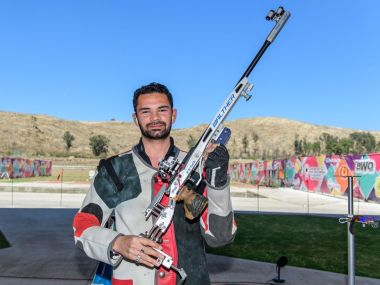 India's Akhil Sheoran celebrates his gold medal in the ISSF Mexico World Cup. Image courtesy: Twitter/@ISSF_Shooting