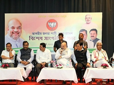BJP president Amit Shah interacts with party leaders in Assam. Twitter @AmitShah
