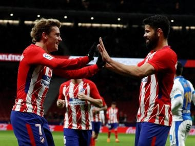 File photo of Atletico Madrid's Antoine Griezmann with Diego Costa. Reuters