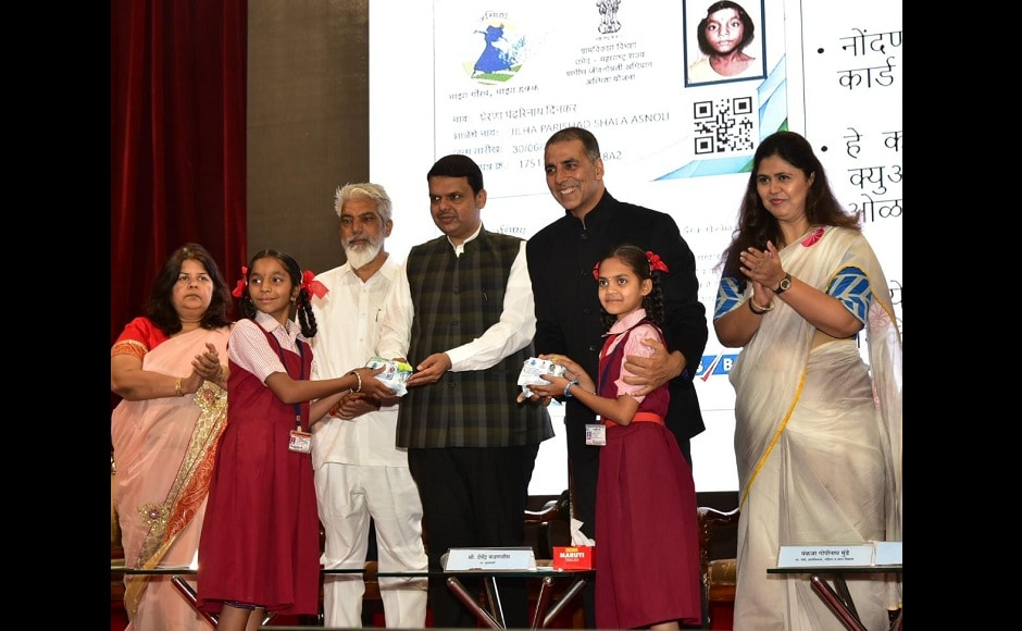 The Maharashtra government, under the Asmita scheme, will facilitate easy access to sanitary napkins for adolescent girls in all districts of Maharashtra. This initiative was announced by Akshay Kumar and the Chief Minister of Maharashtra Devendra Fadnavis at an event in Mumbai.