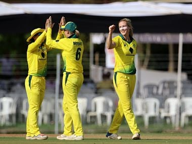 Australia Women thrashed England Women by eight wickets at the Brabourne Stadium in Mumbai on Wednesday. Image courtesy: TWitter @ICC