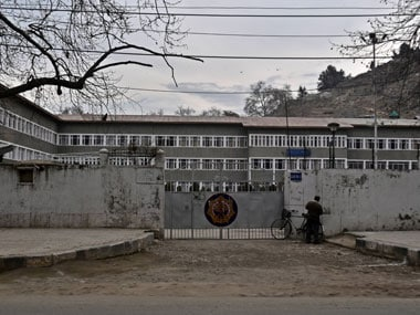The locked gates of  Burn Hall School in Sonwar area of Srinagar. Firstpost/Faisal Khan