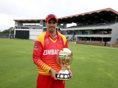Zimbabwe captain Graeme Cremer with the CWCQ trophy. Image courtesy: Twitter @ICC