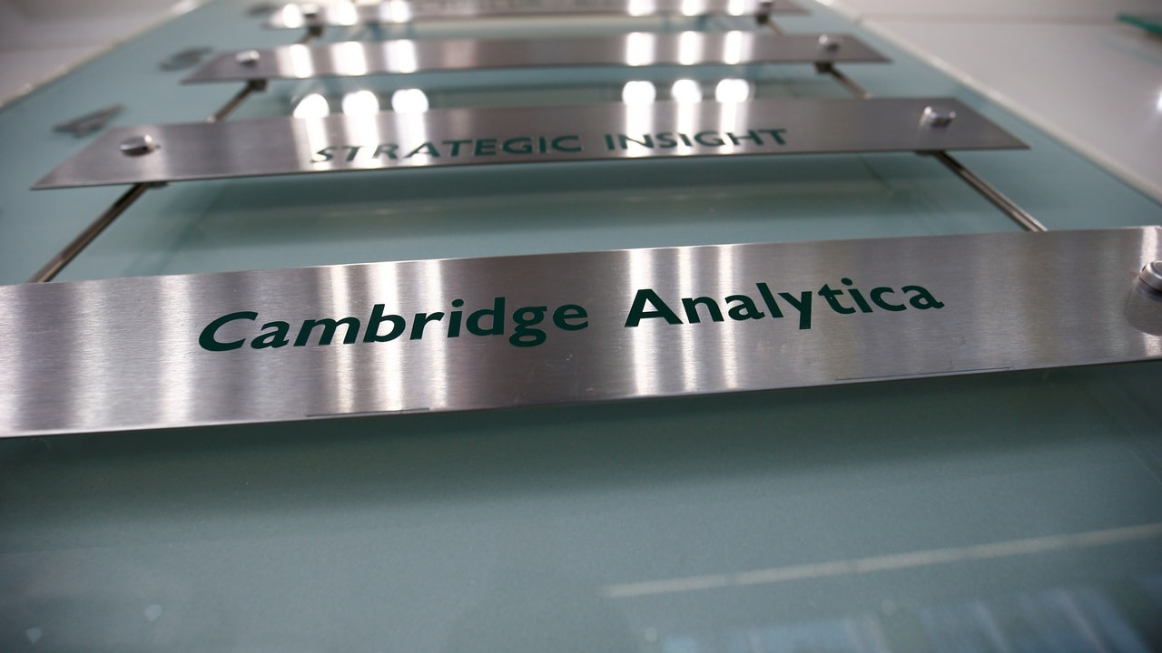 The nameplate of political consultancy Cambridge Analytica is seen in central London Britain