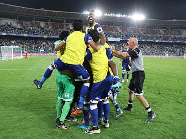 Chennaiyin FC players celebrate a goal during the second leg of the second semi-final against FC Goa. Sportzpics