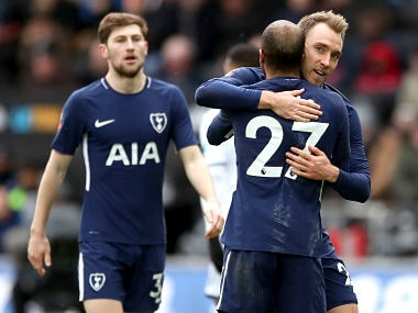 Tottenham Hotspur's Christian Eriksen, right scoring his side's third goal of the game against Swansea City with his teammate Lucas Moura during the English FA Cup, quarterfinal. AP