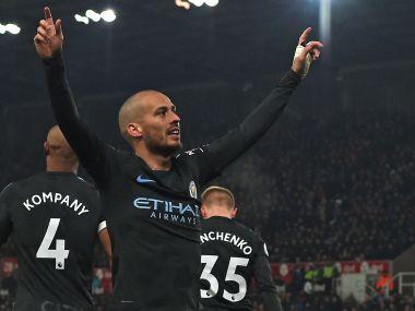 Manchester City's David Silva celebrates after scoring against Stoke. AFP
