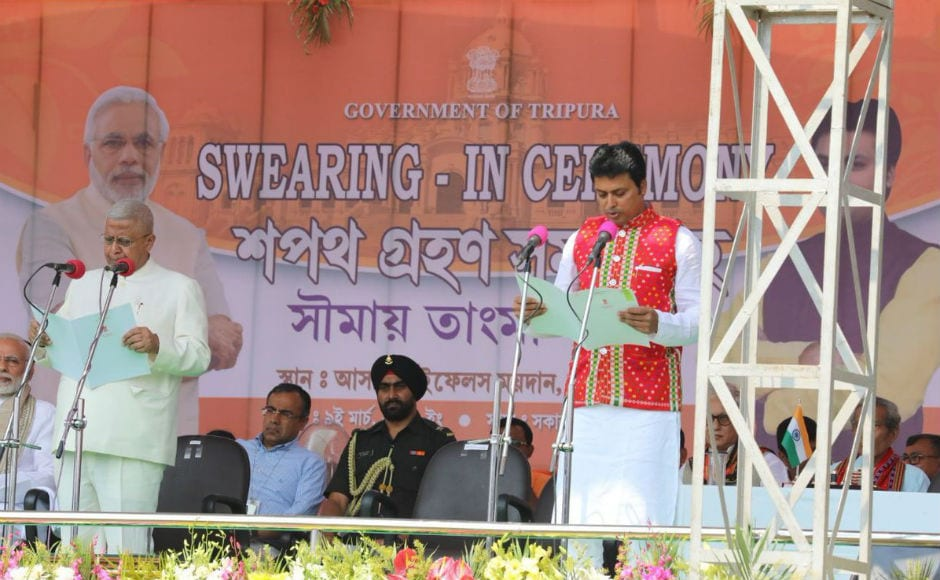 Governor Tathagata Roy administered the oath of office to Biplab Deb. BJP leader Jishnu Deb Burman took oath as deputy chief minister. Seven other ministers, including Indigenous People's Front of Tripura (IPFT) chief NC Debbarma also took oath as ministers. Twitter @narendramodi
