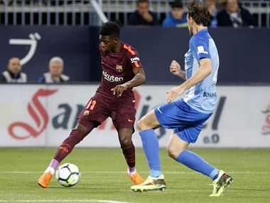 Ousmane Dembele in action during Barcelona's match againts Malaga. Image courtesy: Twitter @FCBarcelona
