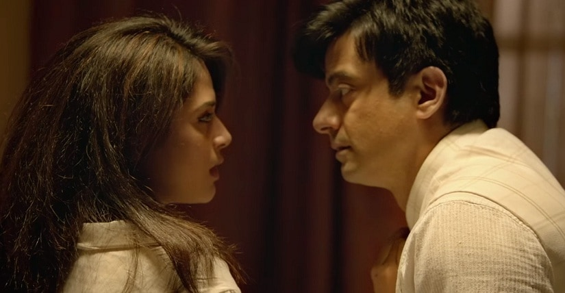A still from Dass Dev, featuring Richa Chadha and Rahul Bhat. Youtube screengrab