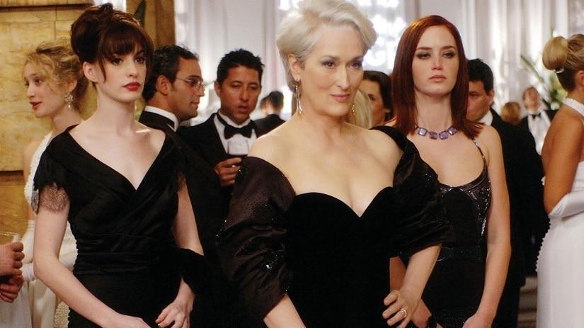 Anne Hathaway, Meryl Streep and Emily Blunt in Devil Wears Prada (2006)