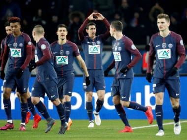 Paris Saint-Germain's Angel Di Maria celebrates scoring their second goal with teammates. Reuters