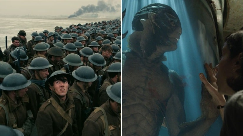 Stills from Dunkirk and The Shape of Water.