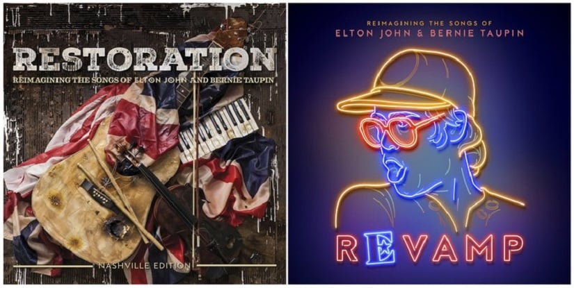 The covers pf the two new albums — Restoration and Revamp — featuring various artists singing Elton John's songs. AP