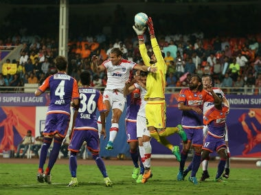FC Pune City goalkeeper Vishal Kaith collects the ball during the first leg of semi-final 1 clash against Bengaluru FC. ISL
