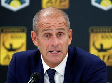 File photo of Guy Forget during a press conference. Reuters