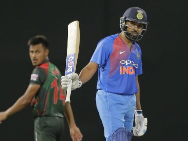 Rohit Sharma struck 89 off 61 balls to help India to a formidable total in the T20I against Bangladesh. AP