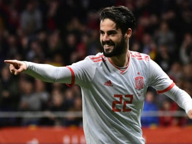 Spain's Isco celebrates after scoring his team's third goal during a friendly against Argentina. AFP