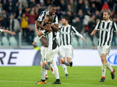 Juventus' Blaise Matuidi celebrates scoring their second goal with teammates. Reuters