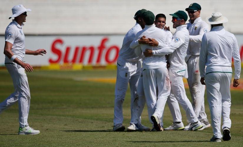 South Africa's Keshav Maharaj celebrates the dismissal of Australian captain Steven Smith in Durban. AFP