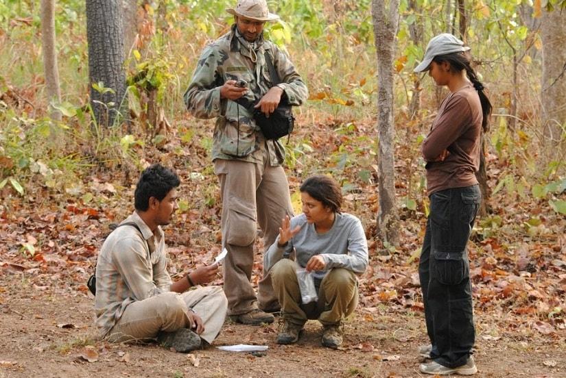 Uma's graduate student Prachi Thatte explains sampling procedures to interns at Kanha National Park, Madhya Pradesh in 2012. Shot by one of Uma's team members