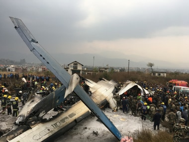 The US- Bangladesh plane which crashed in Kathmandu on Monday. AP