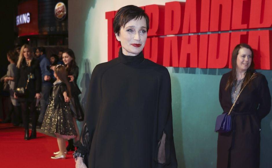 Kristin Scott Thomas at red carpet ofthe Tomb Raider's London premiere. AP/Grant Pollard