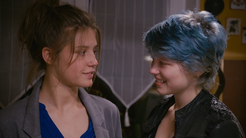 Adèle Exarchopoulos as Adèle and Léa Seydoux as Emma in the coming-of-age LGBT drama Blue Is the Warmest Colour