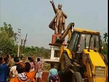 Lenin statue being razed in Tripura. PTI