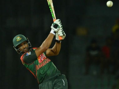 Mahmudullah kept calm under pressure, and sealed the win with a six. Image credit: Twitter/@ICC