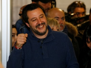 Northern League party leader Matteo Salvini arrives to casts his vote at a polling station in Milan, Italy March 4, 2018. REUTERS/Stefano Rellandini - RC1EBB402140