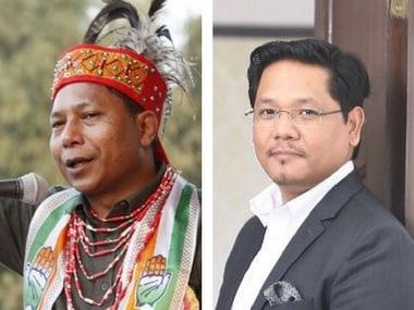File image of Mukul Sangma and Conrad Sangma. Twitter@SangmaConrad/101Reporters