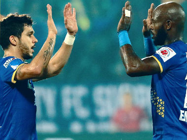 Mumbai City FC players celebrate after scoring against Indian Arrows. Image credit: Twitter/@MumbaiCityFC