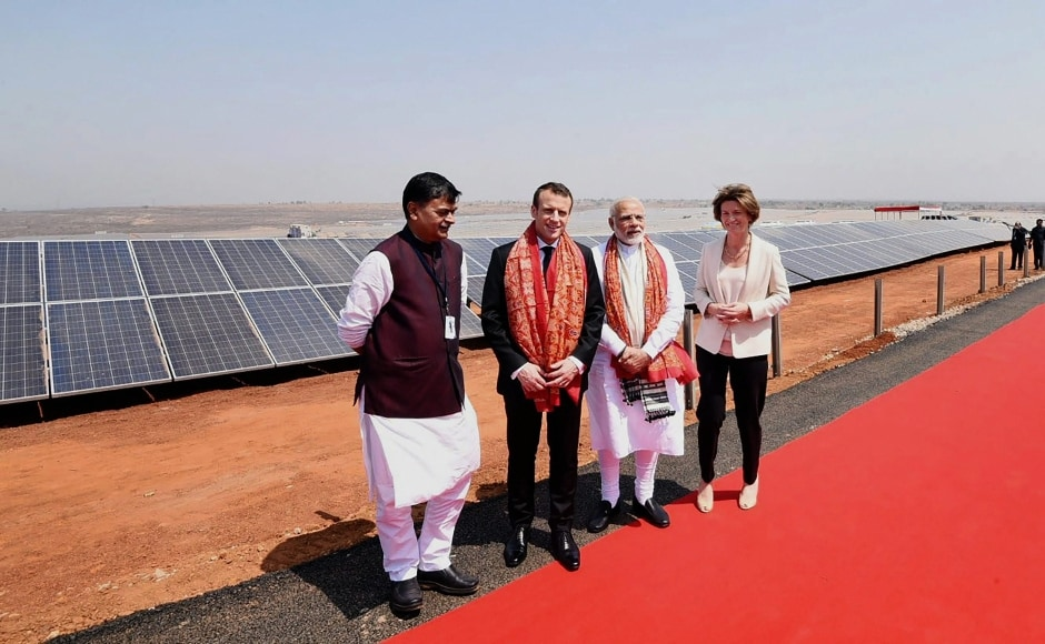 Officials of the plant informed Modi and Macron that the generation of power will begin with the first sun rays and the plant will shut down with sunset. The plant has 3,18,650 solar plates with each plate having a generation capacity of 315 watts. PTI