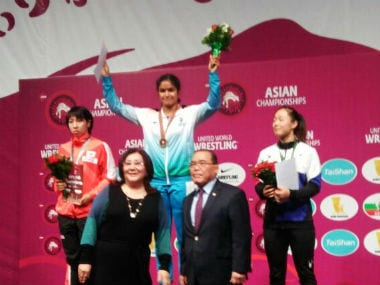 Navjot Kaur recently became the first Indian female wrestler to win gold at Asian Championships. Image credit: Twitter/@IndiaSports