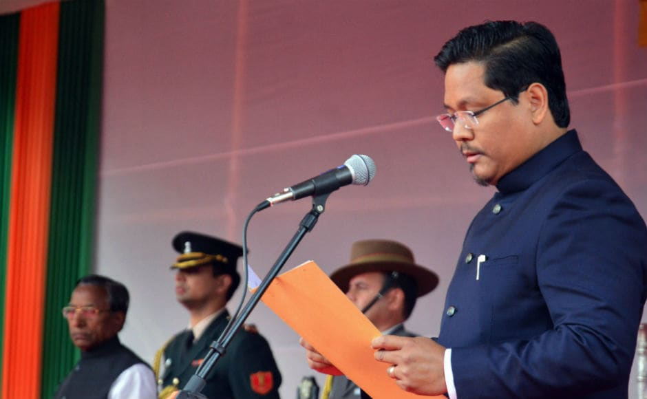 National People's Party (NPP) chief Conrad Sangma took oath on Tuesday as chief minister of Meghalaya in a ceremony presided over by Governor Ganga Prasad in Shillong. PTI