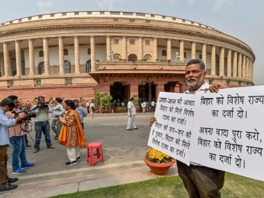 Parliament. Bihar MPs have been protesting to demand special status for the state. PTI
