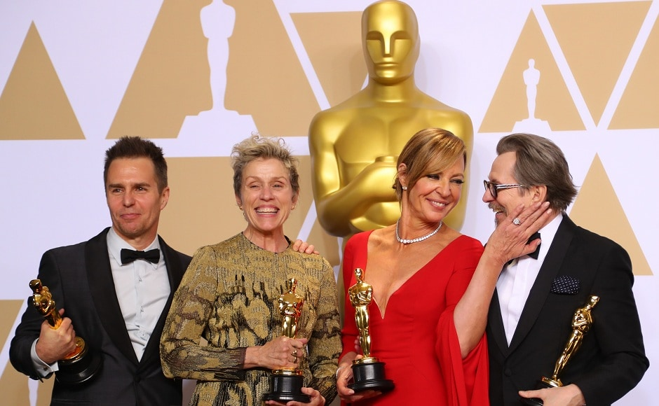 Oscar winners Sam Rockwell, Frances McDormand, Allison Janney and Gary Oldman (left to right) pose backstage. Reuters/Mike Blake