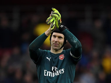"Soccer Football - Premier League - Arsenal vs Watford - Emirates Stadium, London, Britain - March 11, 2018 Arsenal's Petr Cech applauds fans after the match Action Images via Reuters/Tony O'Brien EDITORIAL USE ONLY. No use with unauthorized audio, video, data, fixture lists, club/league logos or ""live"" services. Online in-match use limited to 75 images, no video emulation. No use in betting, games or single club/league/player publications. Please contact your account representative for further details. - RC1776DDDF80"