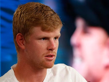 Tennis - Australian Open - Semifinals - Rod Laver Arena, Melbourne, Australia, January 25, 2018. Britain's Kyle Edmund during a press conference after losing his match against Croatia's Marin Cilic. REUTERS/Edgar Su - HP1EE1P0YCMXQ