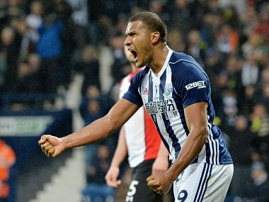 "Soccer Football - Premier League - West Bromwich Albion vs Southampton - The Hawthorns, West Bromwich, Britain - February 3, 2018 West Bromwich Albion's Salomon Rondon celebrates scoring their second goal REUTERS/Peter Powell EDITORIAL USE ONLY. No use with unauthorized audio, video, data, fixture lists, club/league logos or ""live"" services. Online in-match use limited to 75 images, no video emulation. No use in betting, games or single club/league/player publications. Please contact your account representative for further details. - RC1CA7EBA000"