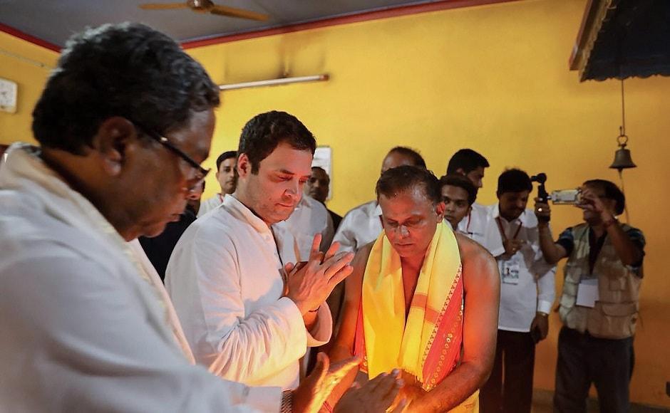 Later, Rahul visited the Sri Brahmashri Narayana Guru Mandira at Hejmady village and offered prayers. Chief Minister Siddaramaiah, too, offered his prayers. PTI