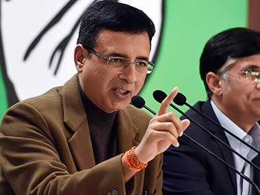 File image of Congress communications in-charge Randeep Surjewala. PTI