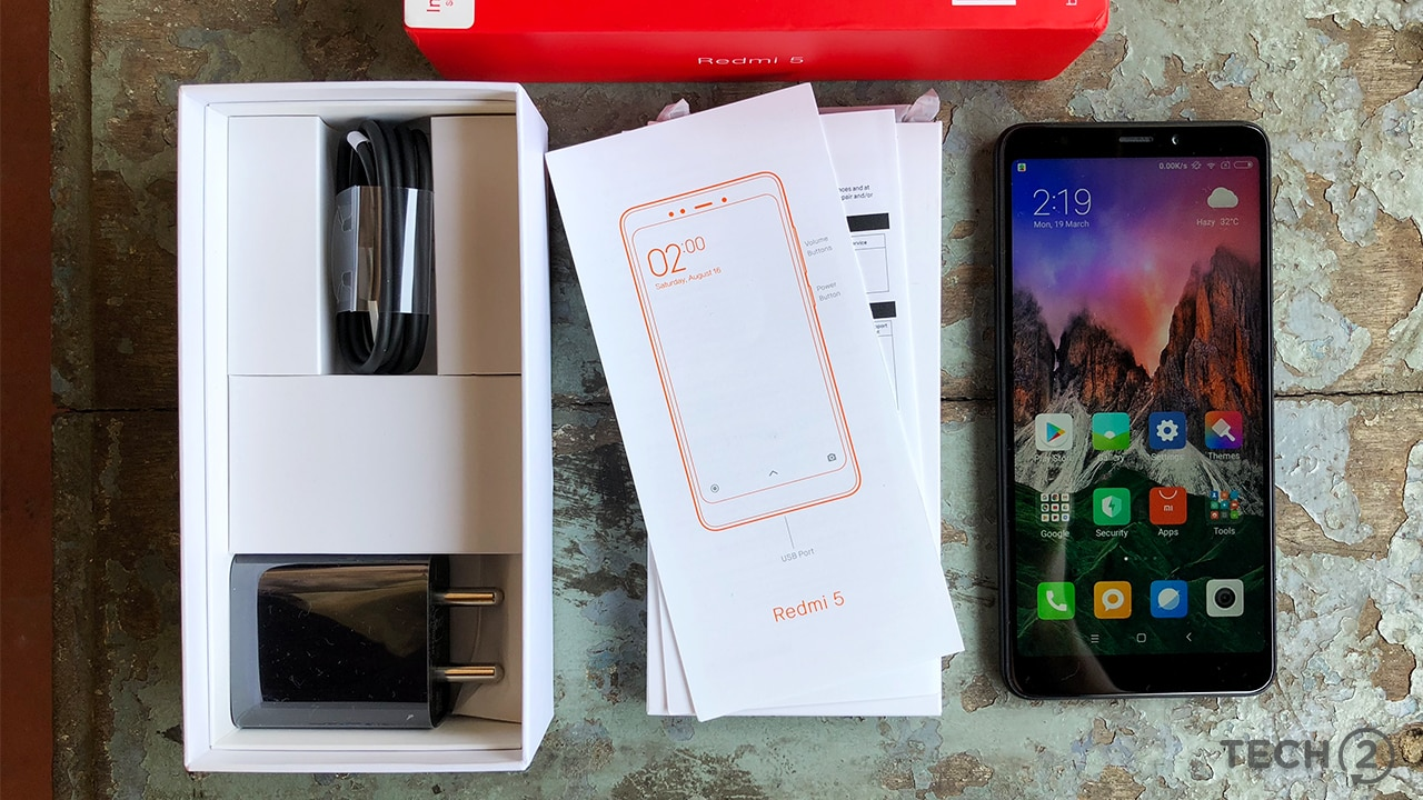 Here's the packaging of the Redmi 5. Image: tech2/Sheldon Pinto